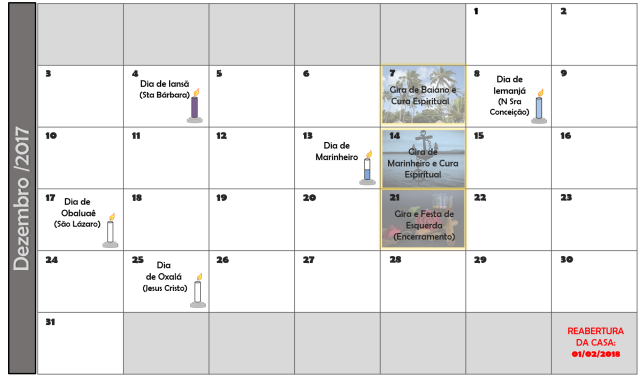 Calendário Dezembro2017 Núcleo De Umbanda águas De Oxum